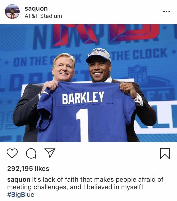 saquon 292,195 likes saquon It's lack of faith that makes people afraid of meeting challenges, and I believed in myself! #EgBMe https://inspirational.ly