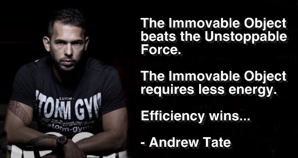 """The Immovable Object beats the Unstoppable Force…"" – Andrew Tate [1242 x 660]"