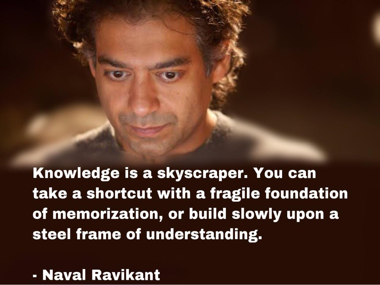 """""""Knowledge is a skyscraper…"""" ~ Naval Ravikant [1242 x 931]"""