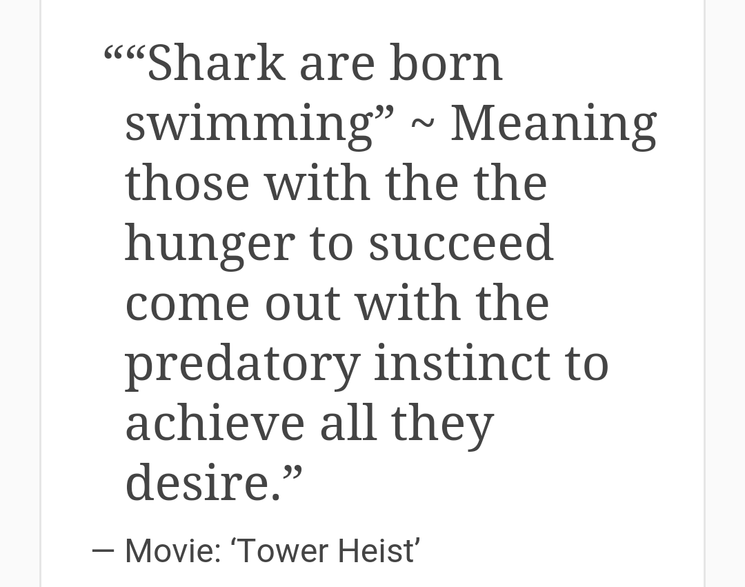 [Image] Sharks are born swimming.