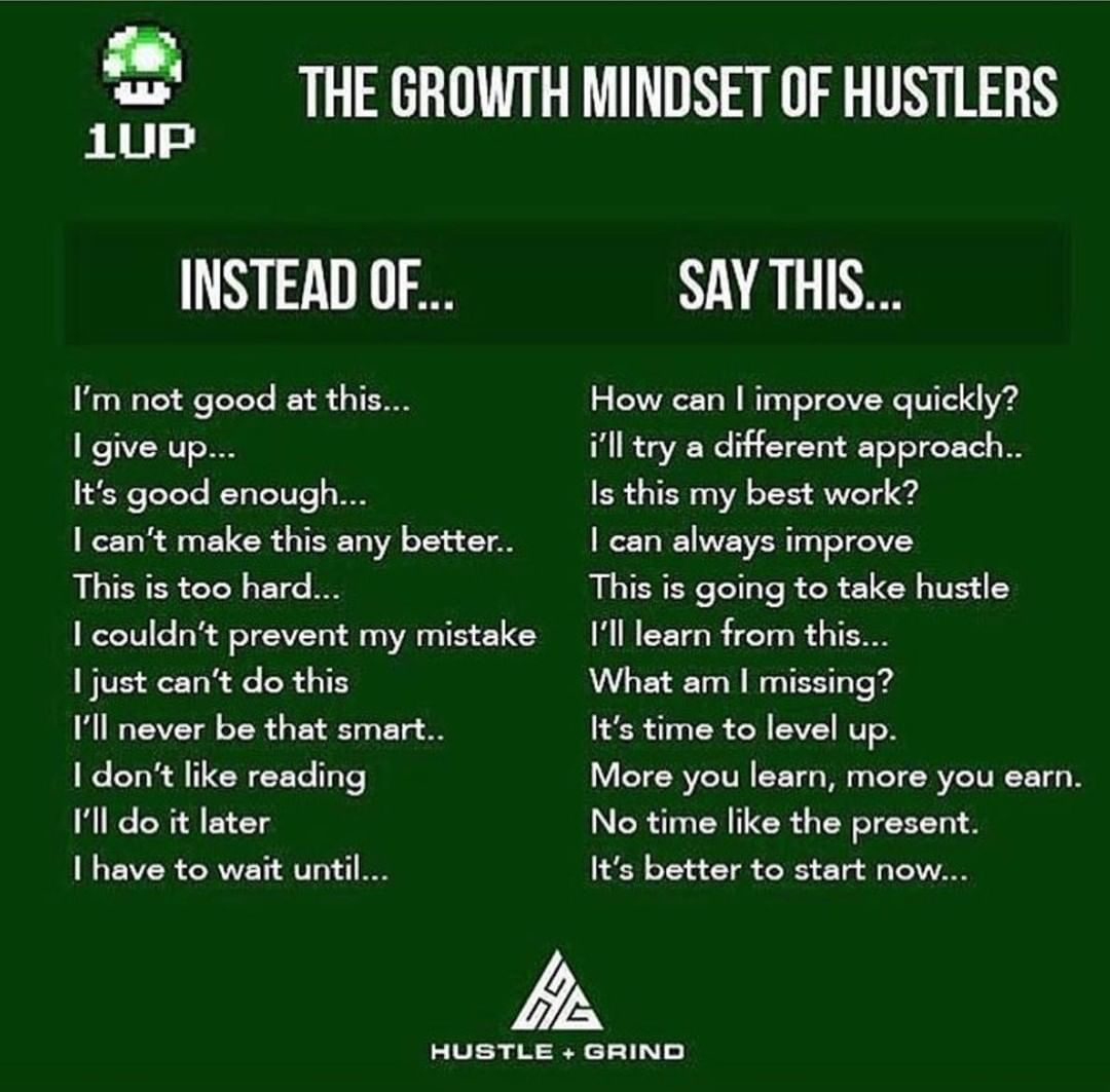 5 THE GROWTH MINDSET 0F HUSTLERS 1UP INSTEAD OF... SAY THIS... I'm not good at this... How can I improve quickly? I give up... i'll try a different approach.. It's good enough... Is this my best work? I can't make this any better.. I can always improve This is too hard... This is going to take hustle I couldn't prevent my mistake I'll learn from this... I just can't do this What am I missing? I'll never be that smart.. It's time to level up. I don't like reading More you learn, more you earn. I'll do it later No time like the present. I have to wait until... It's better to start now... A. HUBTLE + GRIND https://inspirational.ly