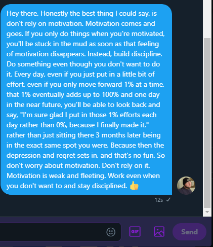 "[Image] ""Don't Rely on motivation…"" – @CrankageGames"