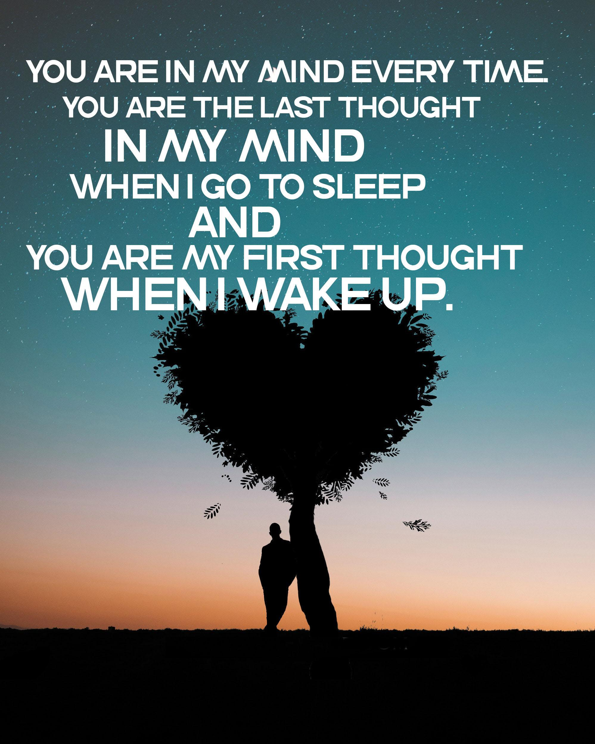 You are in my mind every time. You are the last thought in my mind when I go to sleep and you are my first thought when I wake up.[1997*2496]