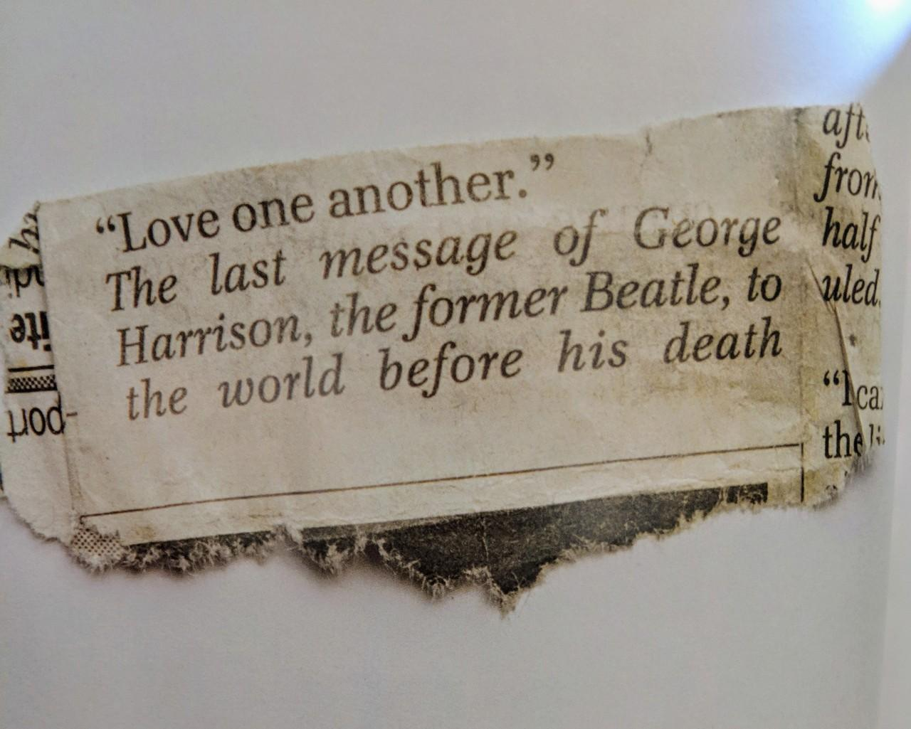 """Love one another""- The last message of George Harrison before is death [3014×2413]"