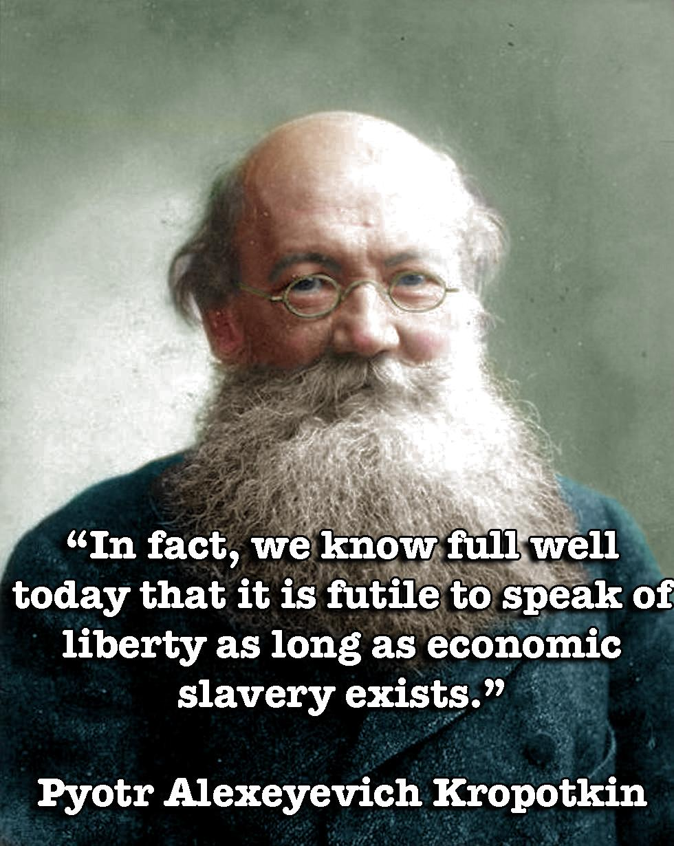 """In fact, we know full well today that it is futile to speak of liberty as long as economic slavery exists."" – Pyotr Kropotkin [OC][980 × 1230]"