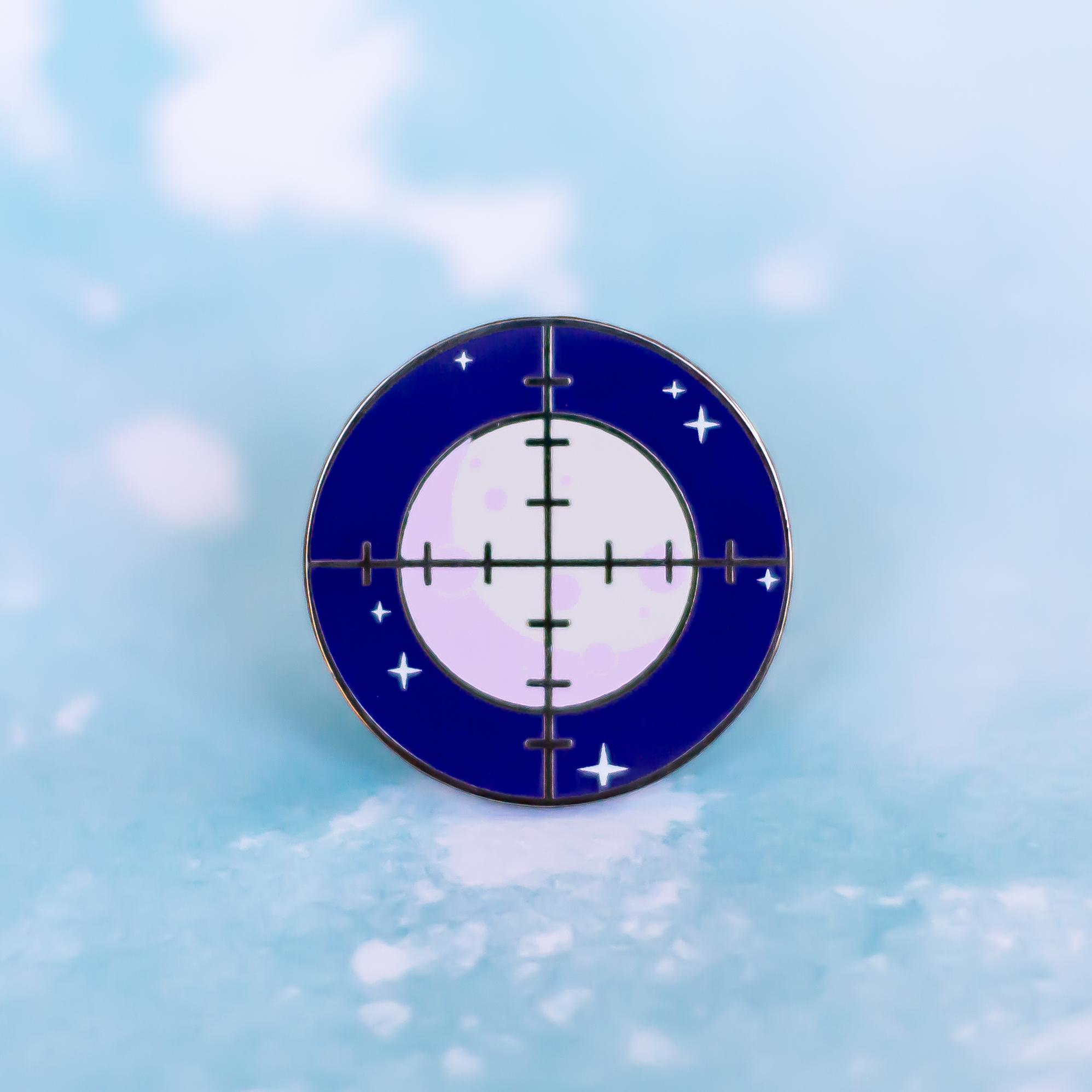 "[Image] ""Aim for the moon, for even if you miss you'll land amongst the stars"" I created this enamel pin for myself, to remember to dream big and reach for what you want. It's my least popular pin, but it's still the one closest to my heart. I hope it inspires you as well!"