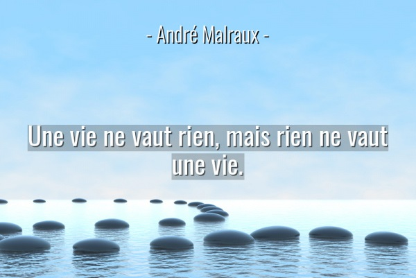 A life is not worth anything, but nothing is worth a life.(Une vie ne vaut rien, mais rien ne vaut une vie). ― André Malraux(1020×850)