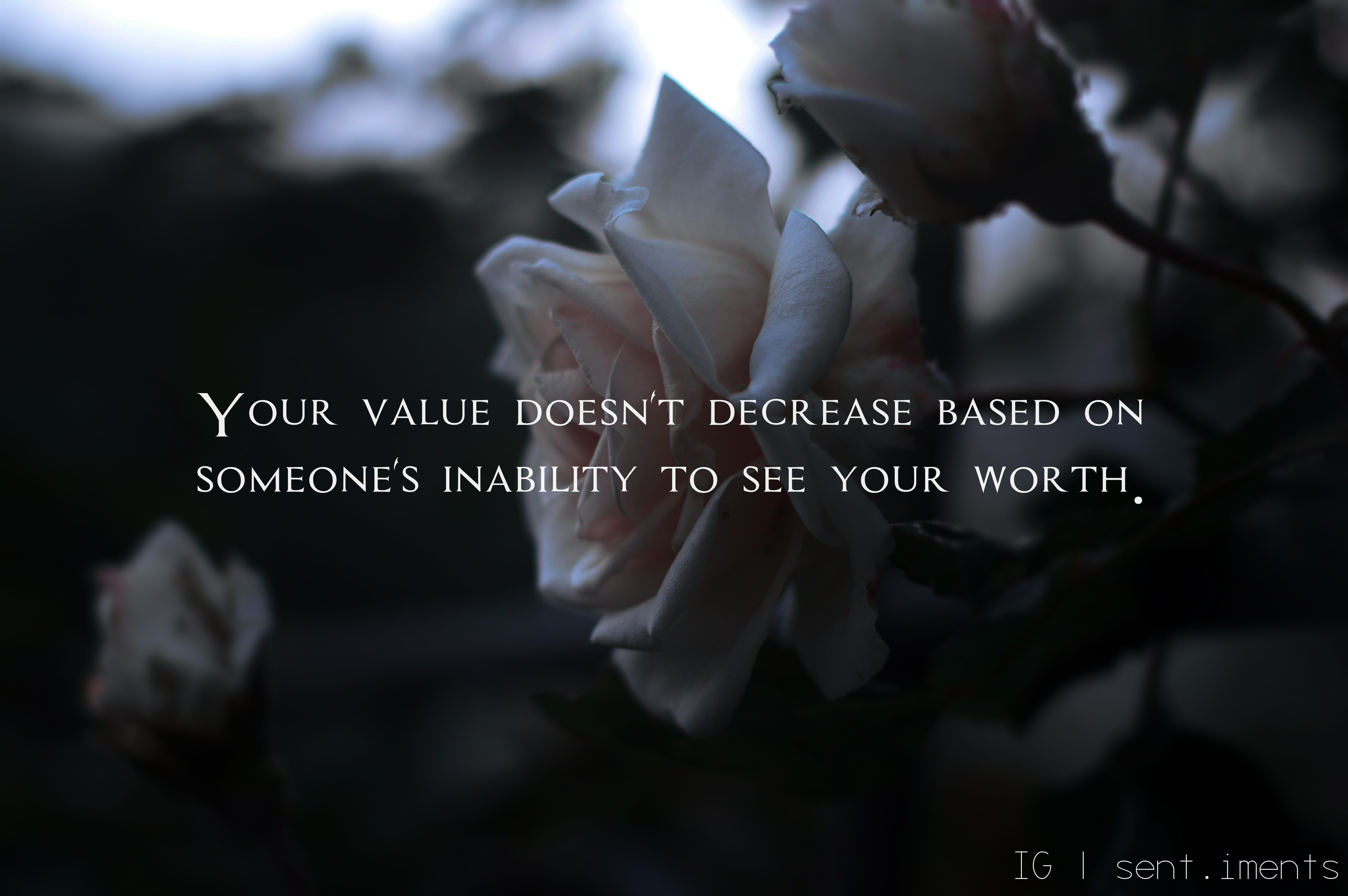 """Your value doesn't decrease based on someone's inability to see your worth"" by Unknown [ 6016 X 4000]"