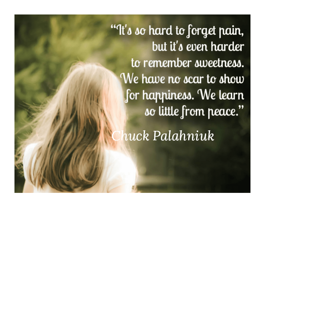 "It's so hard to forget pain, but it's even harder to remember sweetness. We have no scar to show for happiness. We learn so little from peace."" ― Chuck Palahniuk(850×700)"