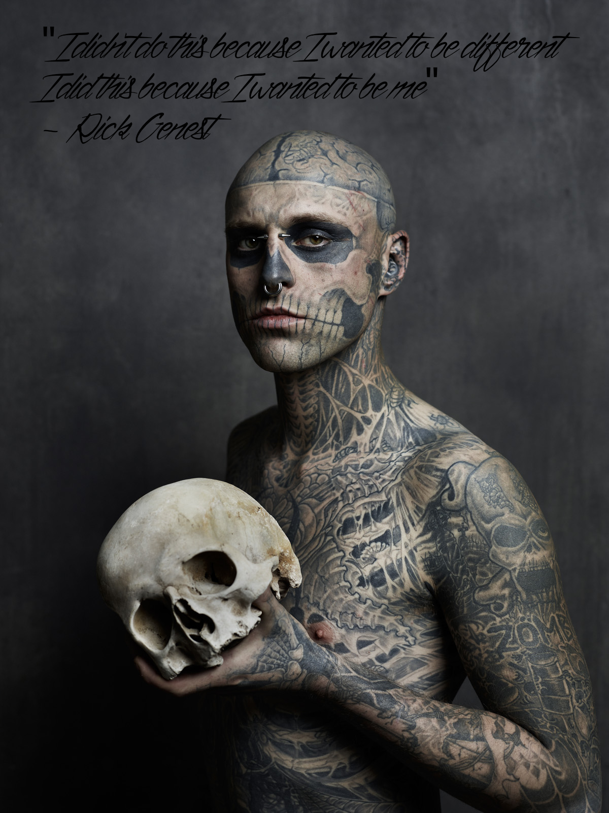 """I didn't do this becasue I wanted to be different, I did this becasue I wanted to be me"" – Rick Genest [1200×1601]"