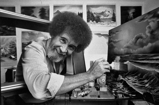 "[Image] ""You do your best work if you do a job that makes you happy."" – Bob Ross"