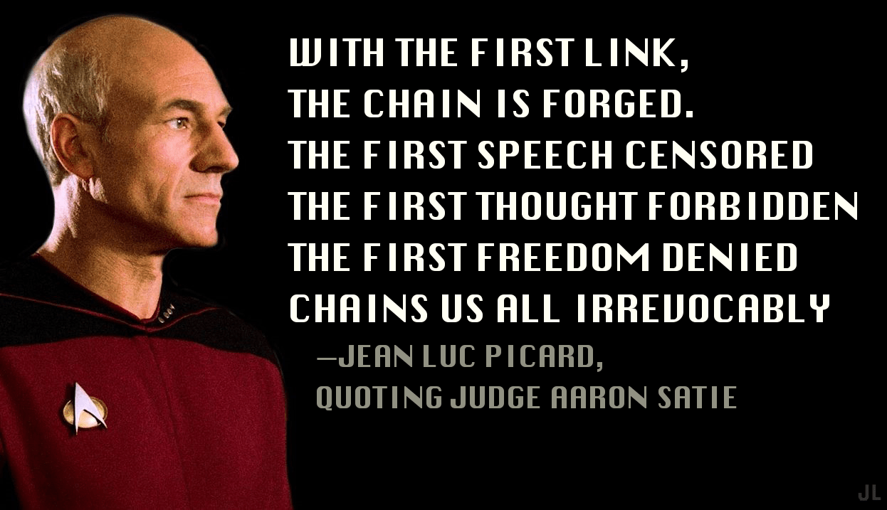 UJITH THE FIRST LINK, THE CHRIN IS FORGED. THE FIRST SPEECH GENSORED THE FIRST THOUGHT FORBIDDEN THE FIRST FREEDOM DENIED CHRINS US RLL IRREUOCRBL'I' —JERN LUC PICRRD, OUOTING JUDGE https://inspirational.ly