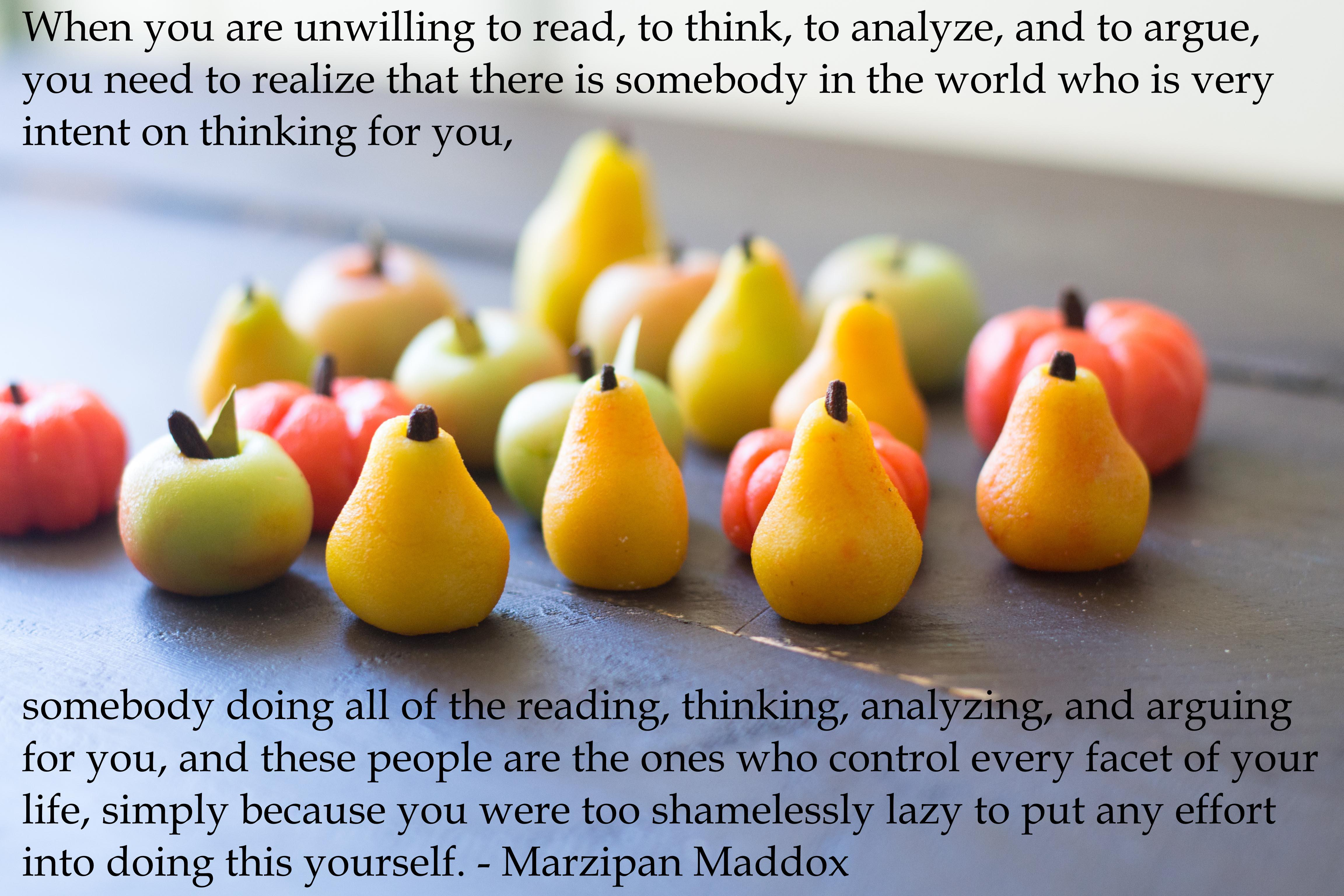 "[OC]""When you are unwilling to read, to think, to analyze, and to argue…"" – M. Maddox [4608 x 3072]"
