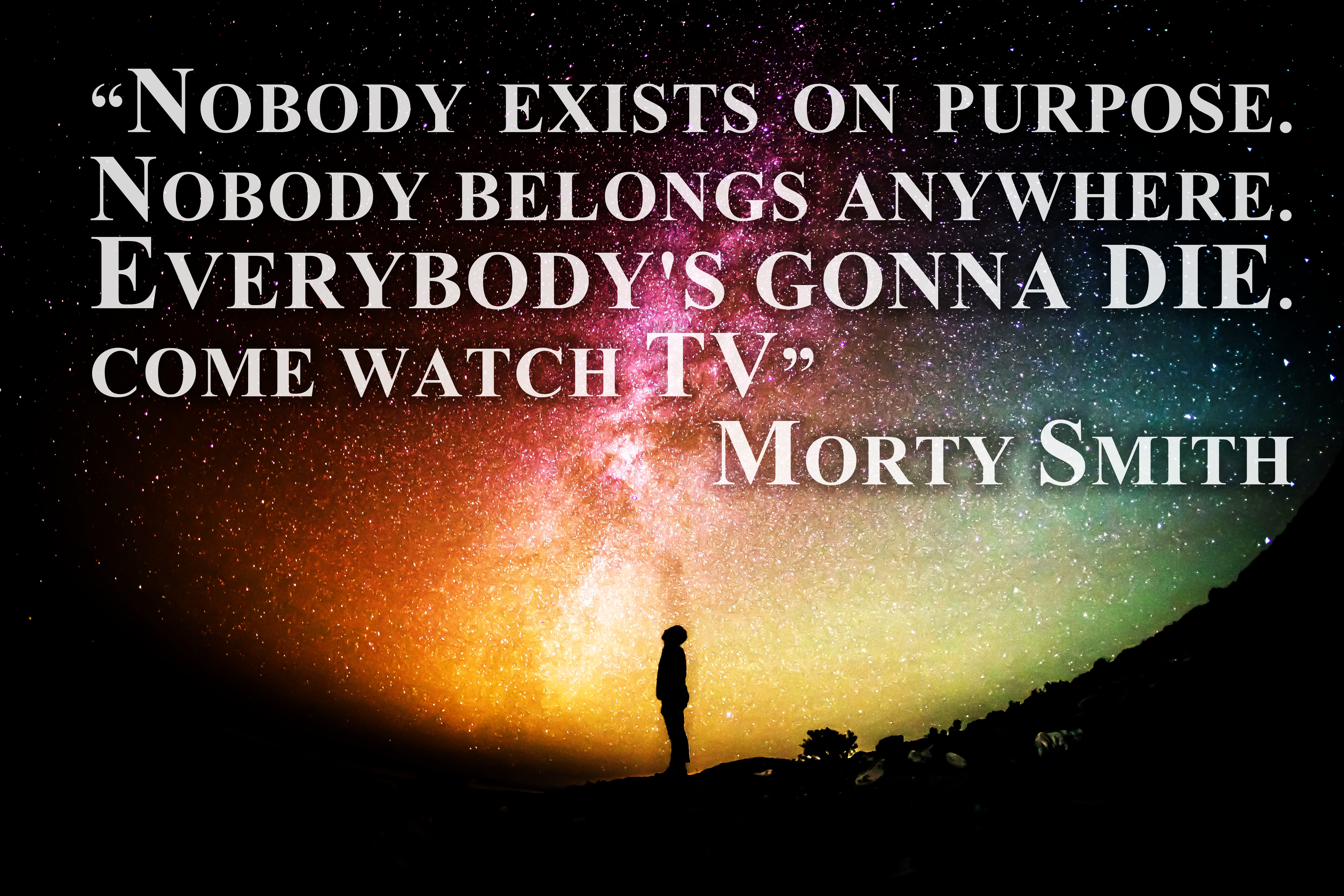 "Nobody exists on purpose. Nobody belongs anywhere. Everybody's gonna die. Come watch TV"" ― Morty Smith ,(5616×3744)"