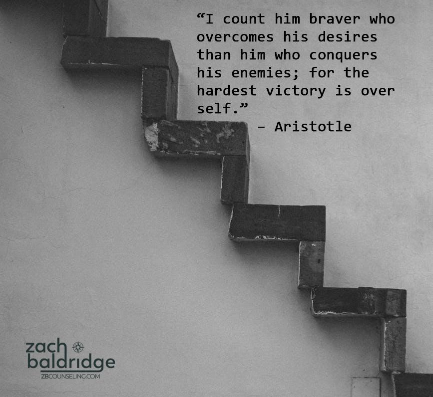 """""""I count him braver who overcomes his desires than him who conquers his enemies; for the hardest victory is over self."""" — Aristotle zoc3@ bol ridge ZBCOU NSELJNC .COM https://inspirational.ly"""