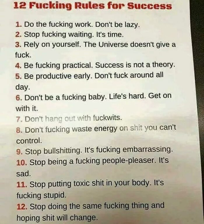 [IMAGE] 12 F**king Rules for Success