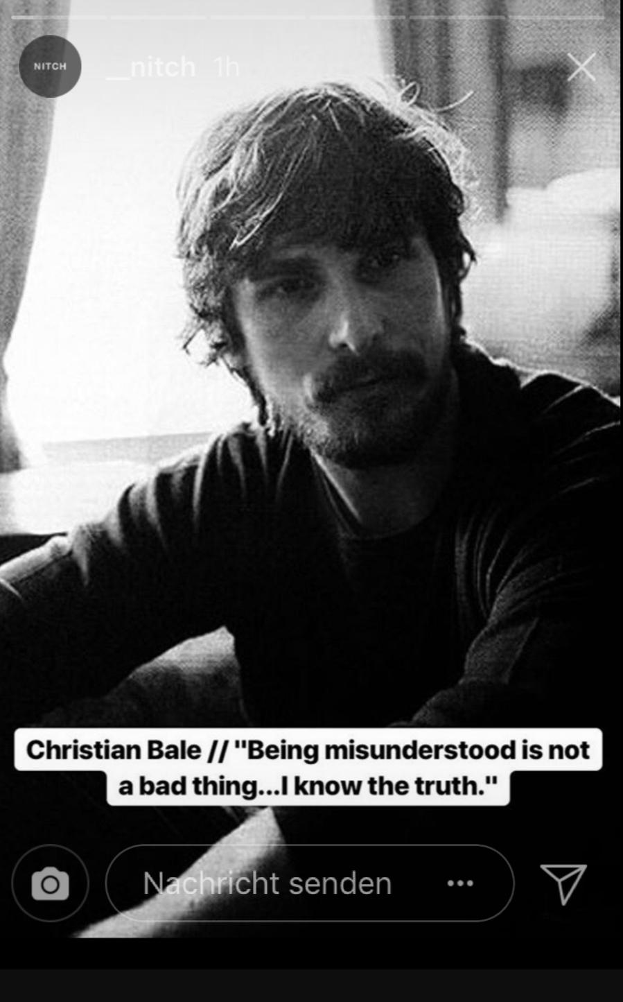 """Being misunderstood is not a bad thing…I know the truth""- Christian Bale [899×1445]"
