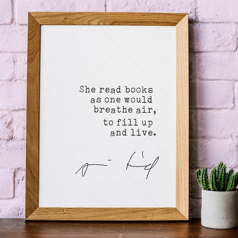 """She read books as one would breathe air, to fill up and live."" ― Annie Dillard [1000×1000]"