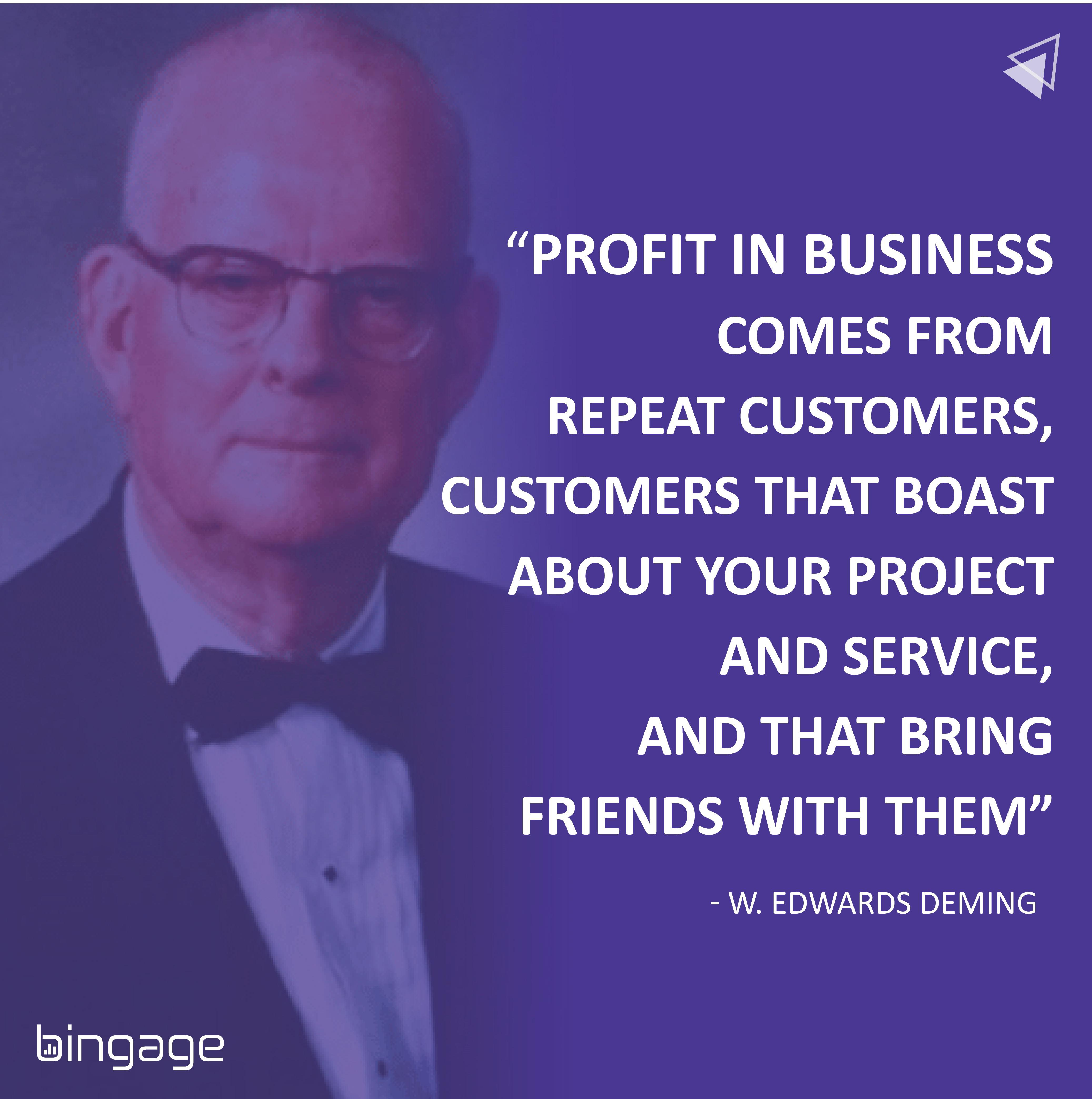 Profit in business comes from Repeat customers – A Motivation Quote by W. Edward Deming. (1000×1000)