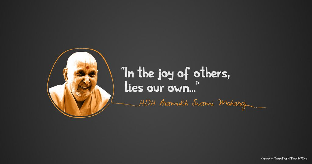 """In the joy of others, lies our own""- His Holiness Pramukh Swami Maharaj [1024×540]"