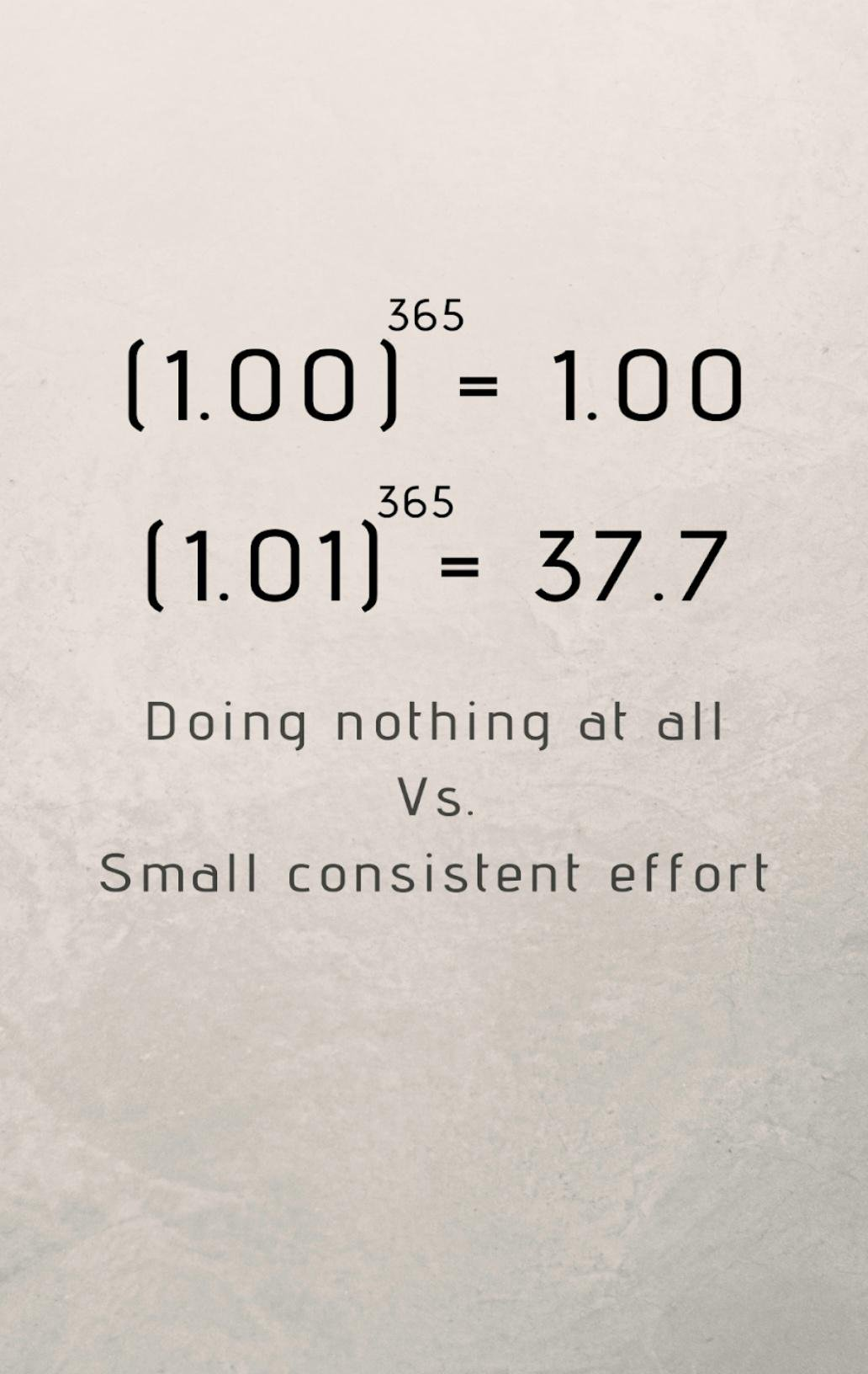 [Image] Even a 1% increase in effort every day can make a huge difference. You can do it.