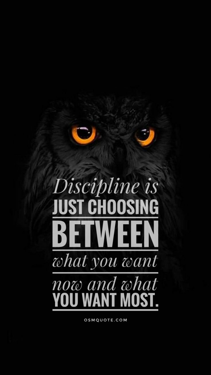 """Discipline is just choosing between what you want now and what you want most."" [736px X 1308px]"