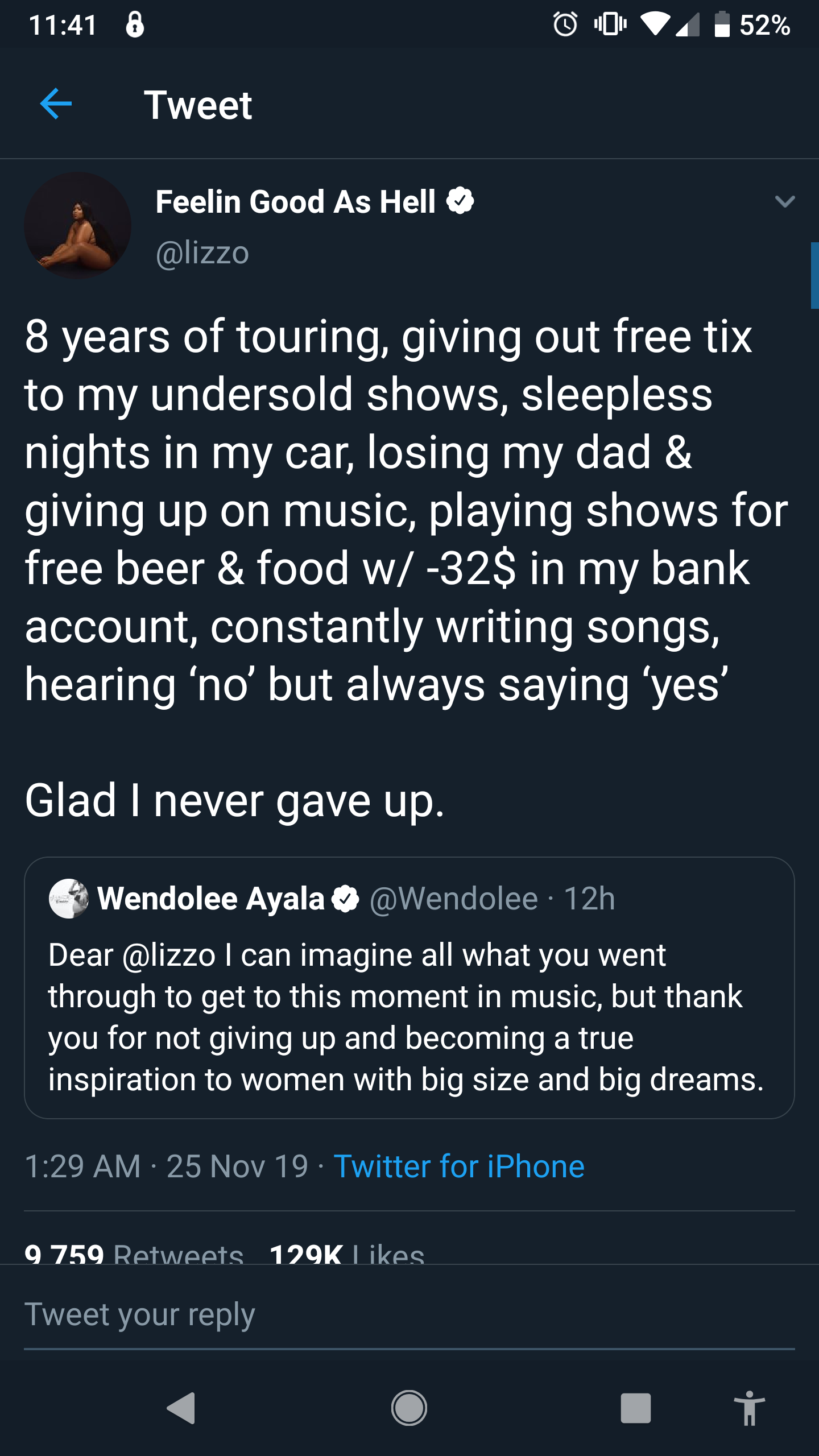 [Image] This tweet from Lizzo.