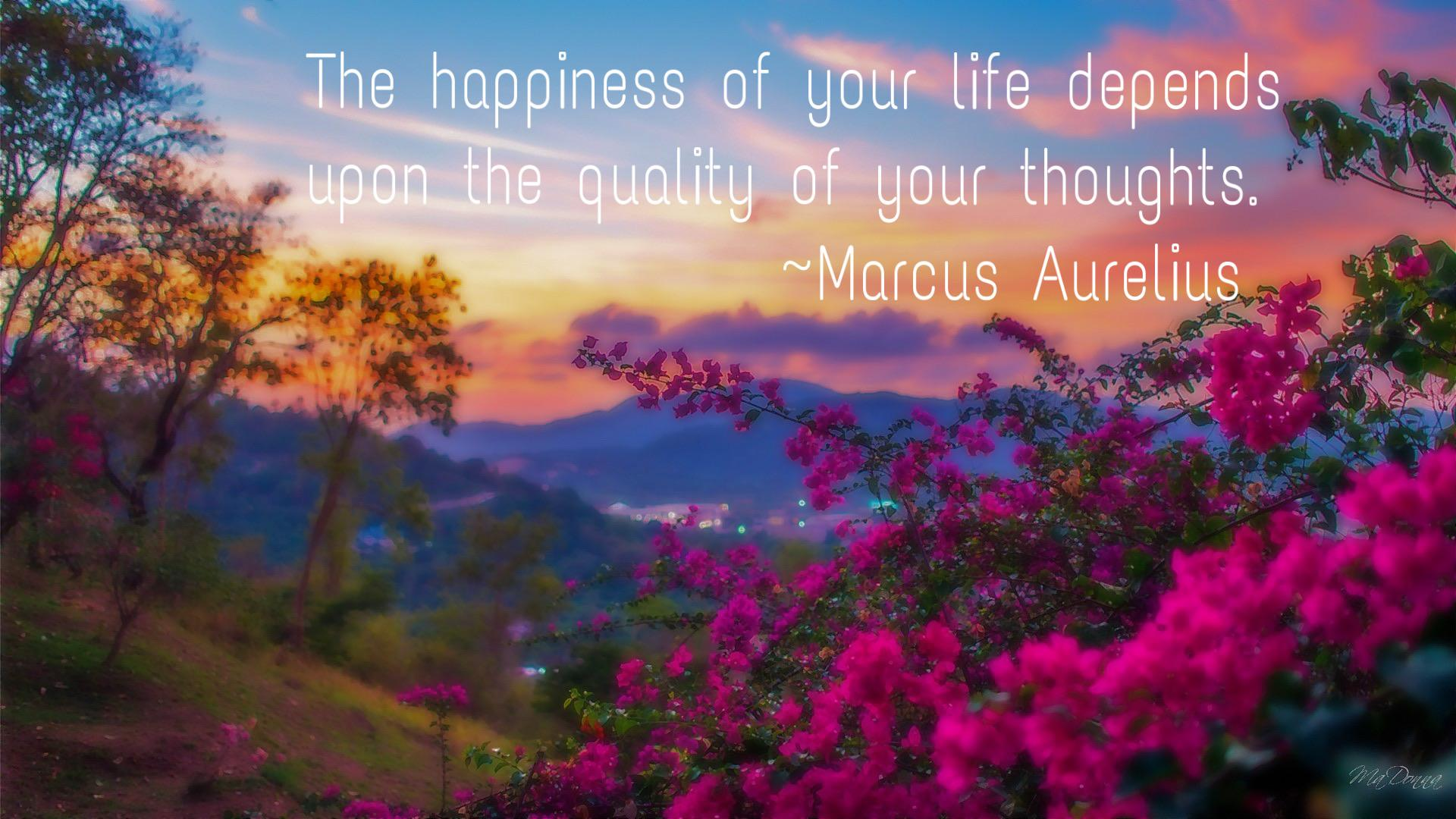 """The happiness of your life…"" quote by Roman emperor Marcus Aurelius [4096 x 2160]"