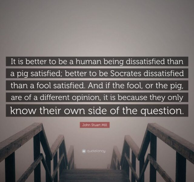 """It is better to be a human being dissatisfied than a pig satisfied""-John Mill [1600X1900]"