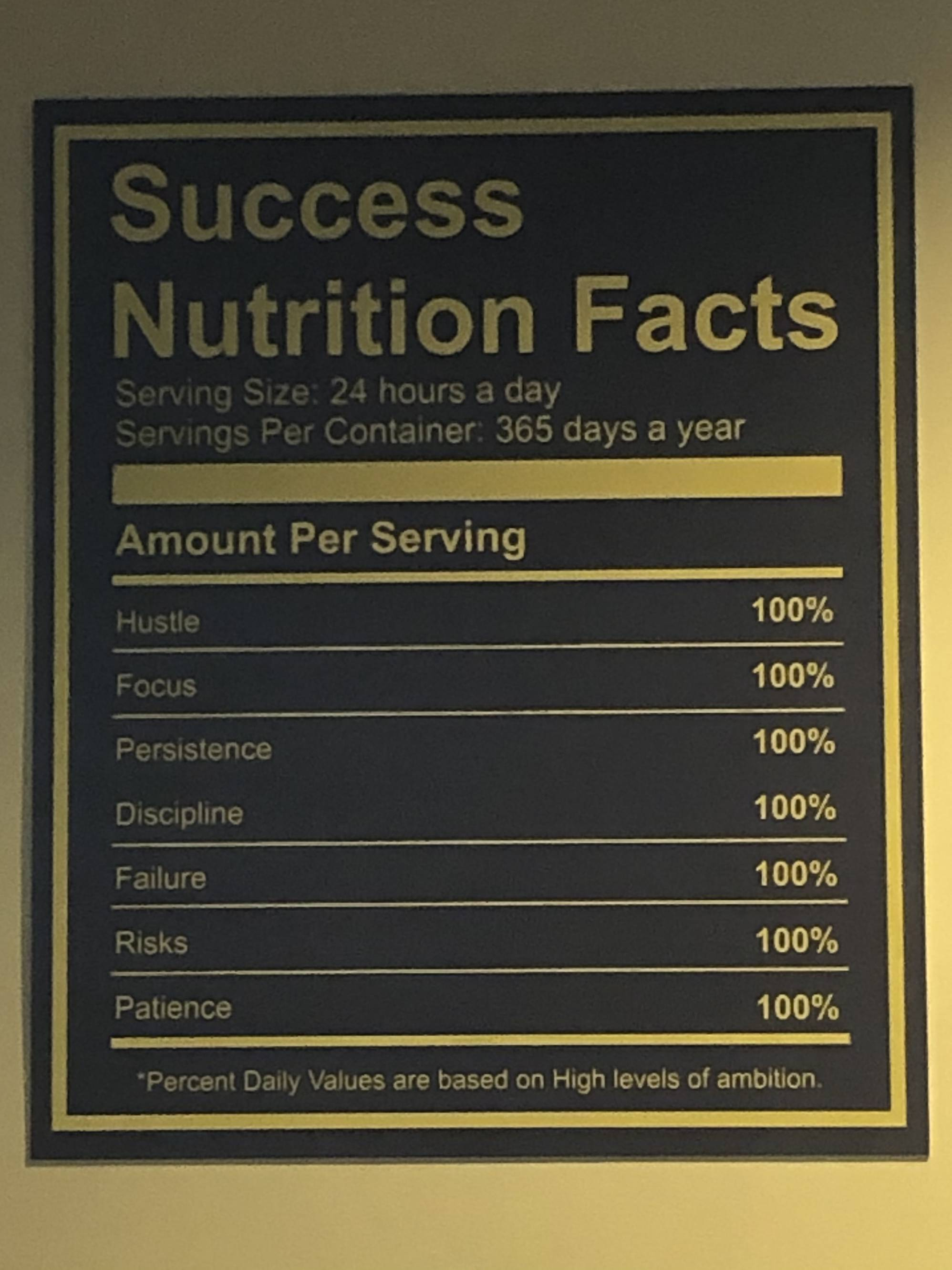 [Image] Success Nutrition facts