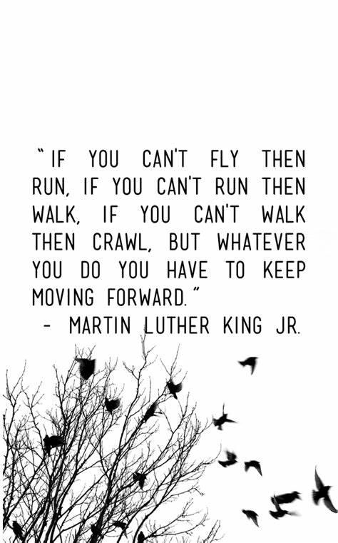 "If you can't fly then run, if you can't run then walk, if you can't walk then crawl, but whatever you do you have to keep moving forward."" – Martin Luther King Jr.(850×1200)"