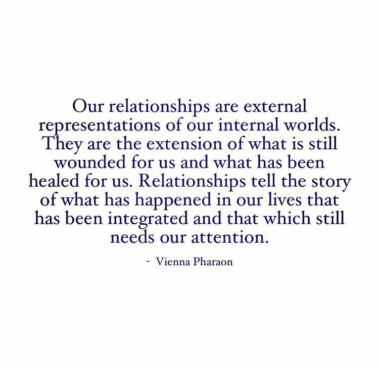 """How relationships are external representations of our internal worlds. They are the extension of what is still wounded for us and what has been healed for us…"" -Vienna Pharaon [1080 x 1080]"