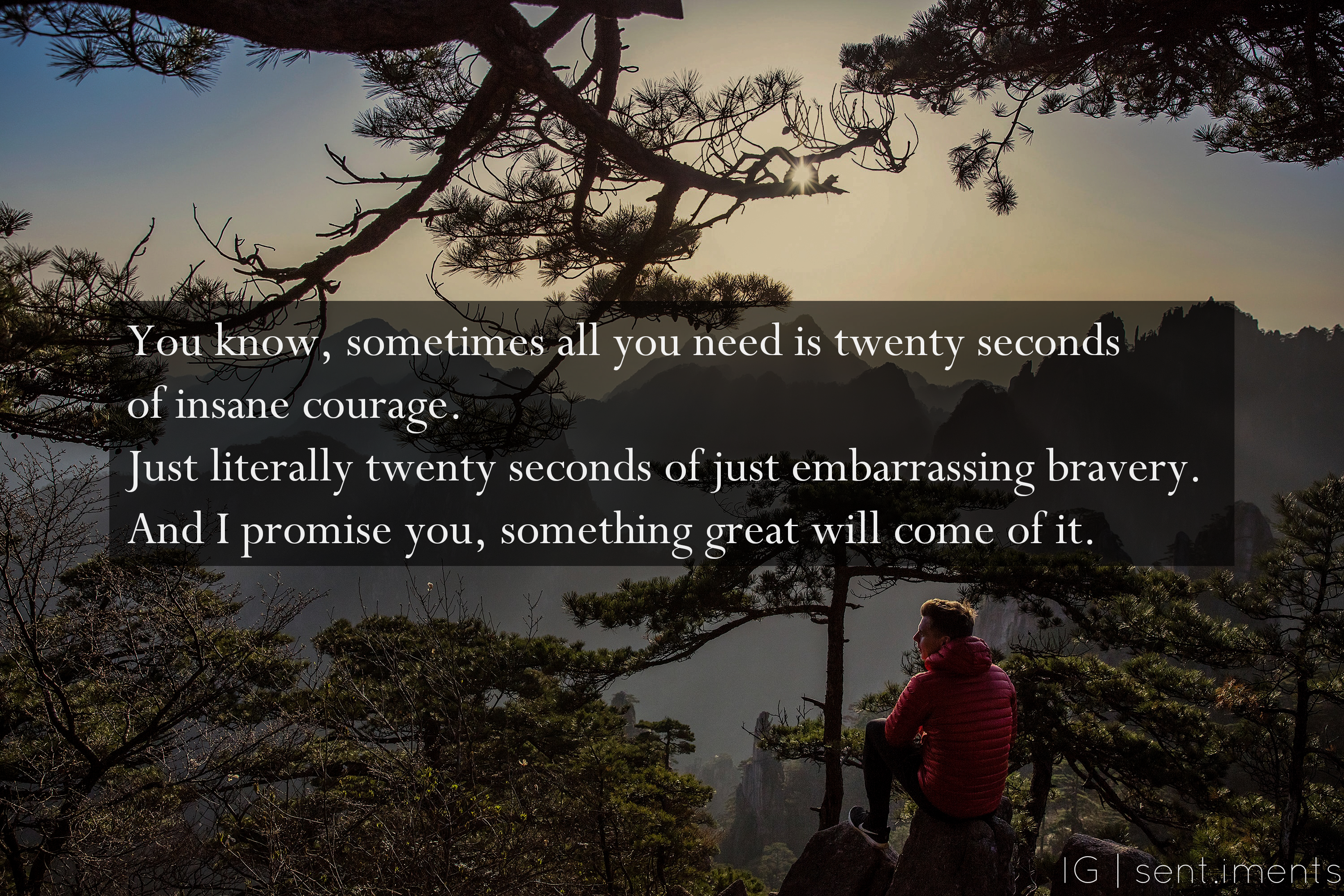 """You know, sometimes all you need is twenty seconds of insane courage. Just literally twenty seconds of just embarrassing bravery. And I promise you, something great will come of it."" By Benjamin Mee [3000 X 2001]"