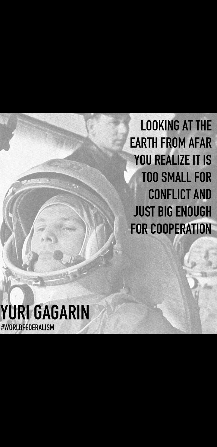 """Looking at the earth from afar you realize it's too smal for conflict and just big enoigh for cooperation"" Yuri Gagarin [720×1480]"