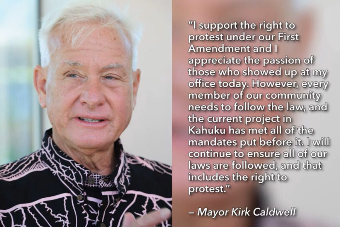"""I support the right to protest under our First Amendment….."" – Honolulu's Mayor Kirk Caldwell [1160 x 775]"