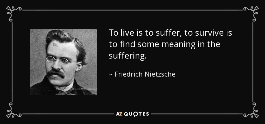 """To live is to suffer, to survive to find some meaning in the suffering"" – Fredrich Nietzsche [850×400]"
