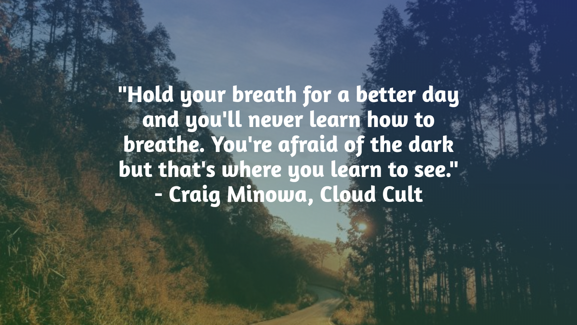 """Hold your breath for a better day and you'll never learn how to breathe."" – Craig Minowa, Cloud Cult [1920×1080]"