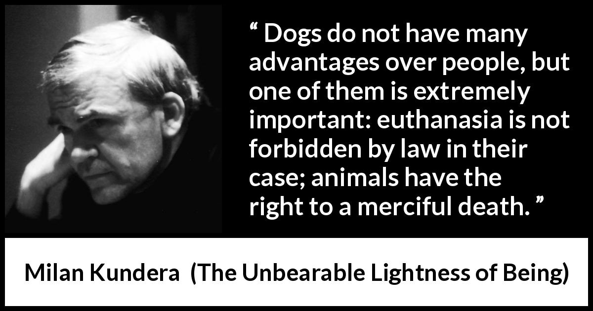 "Dogs do not have many advantages over people, but one of them is extremely important: euthanasia is not forbidden by law in their case; animals have the right to a merciful death."" ― Milan Kundera,(950×650)"