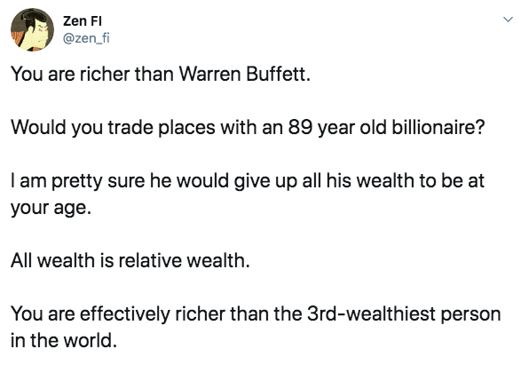 [Image] You are richer than Warren Buffett.