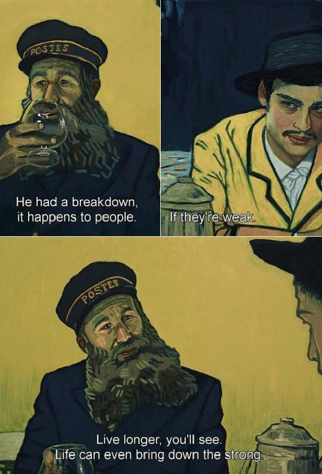 Life can even bring down the strong. – Postman Joseph Roulin (Loving Vincent). [633×933]