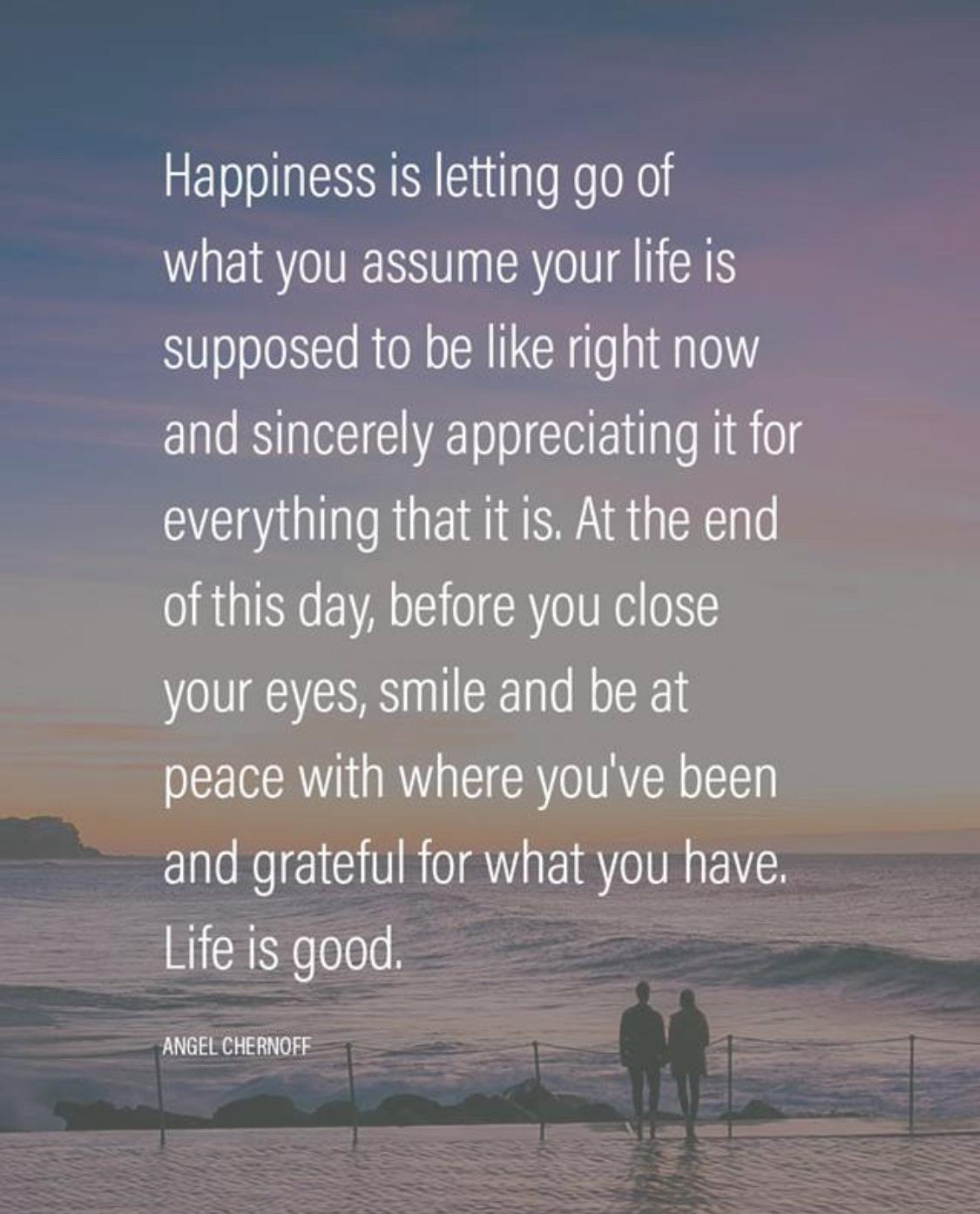 [Image] Happiness is letting go of what you assume your life is supposed to be like right now…-Angel Chernoff