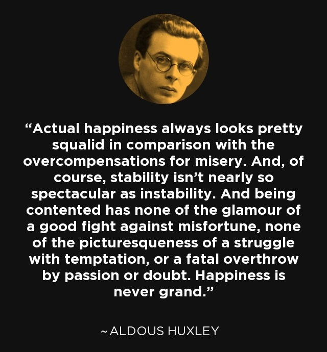 Actual happiness always looks pretty squalid in comparison with the overcompensations for misery.Aldous Huxley(850×1200)