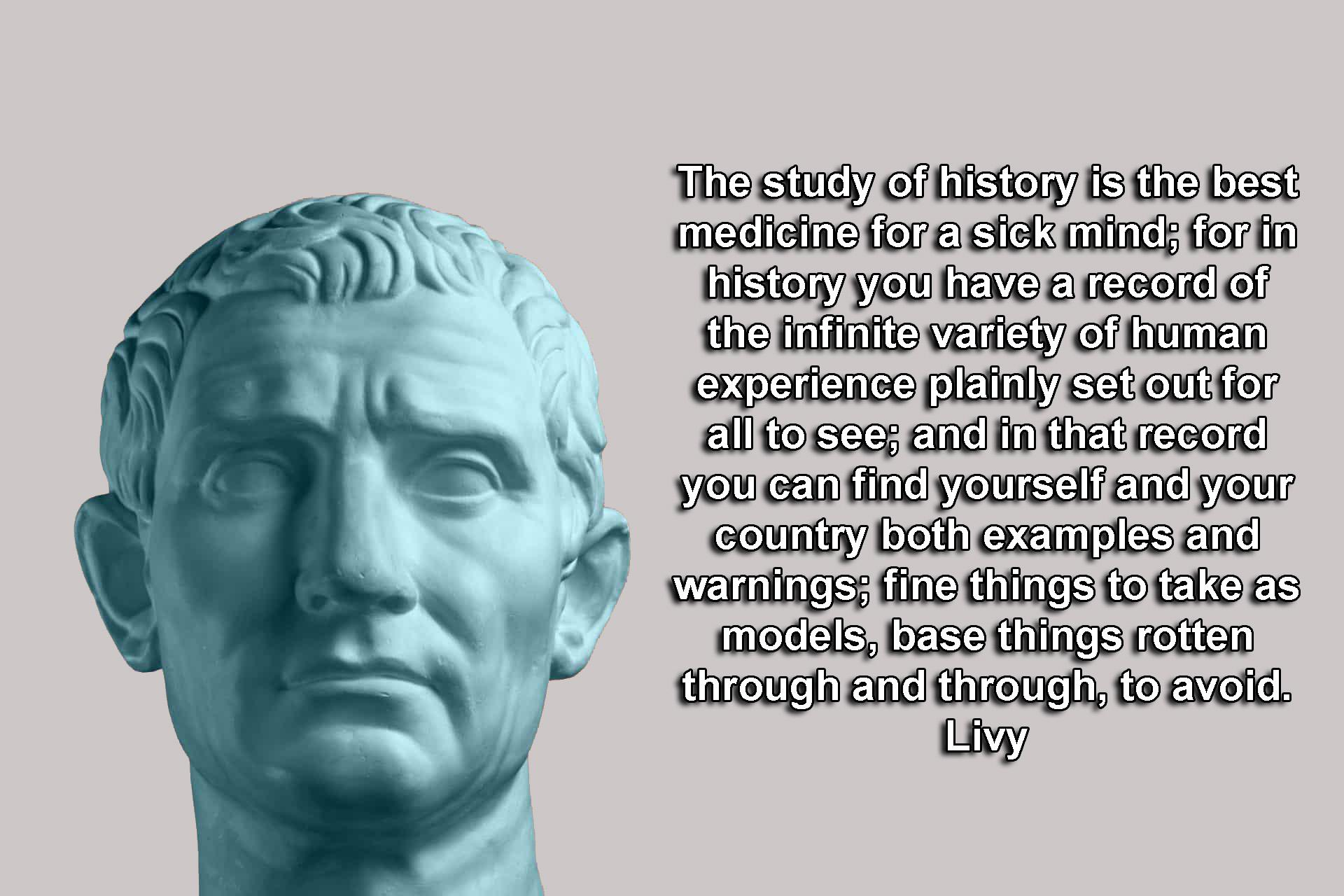 """The study of history is the best medicine for a sick mind; for in history you have a record of the infinite variety of human experience plainly set out for all to see; and in that record you can find yourself and your country both examples and warnings…."" – Livy [OC][1920 × 1280]"