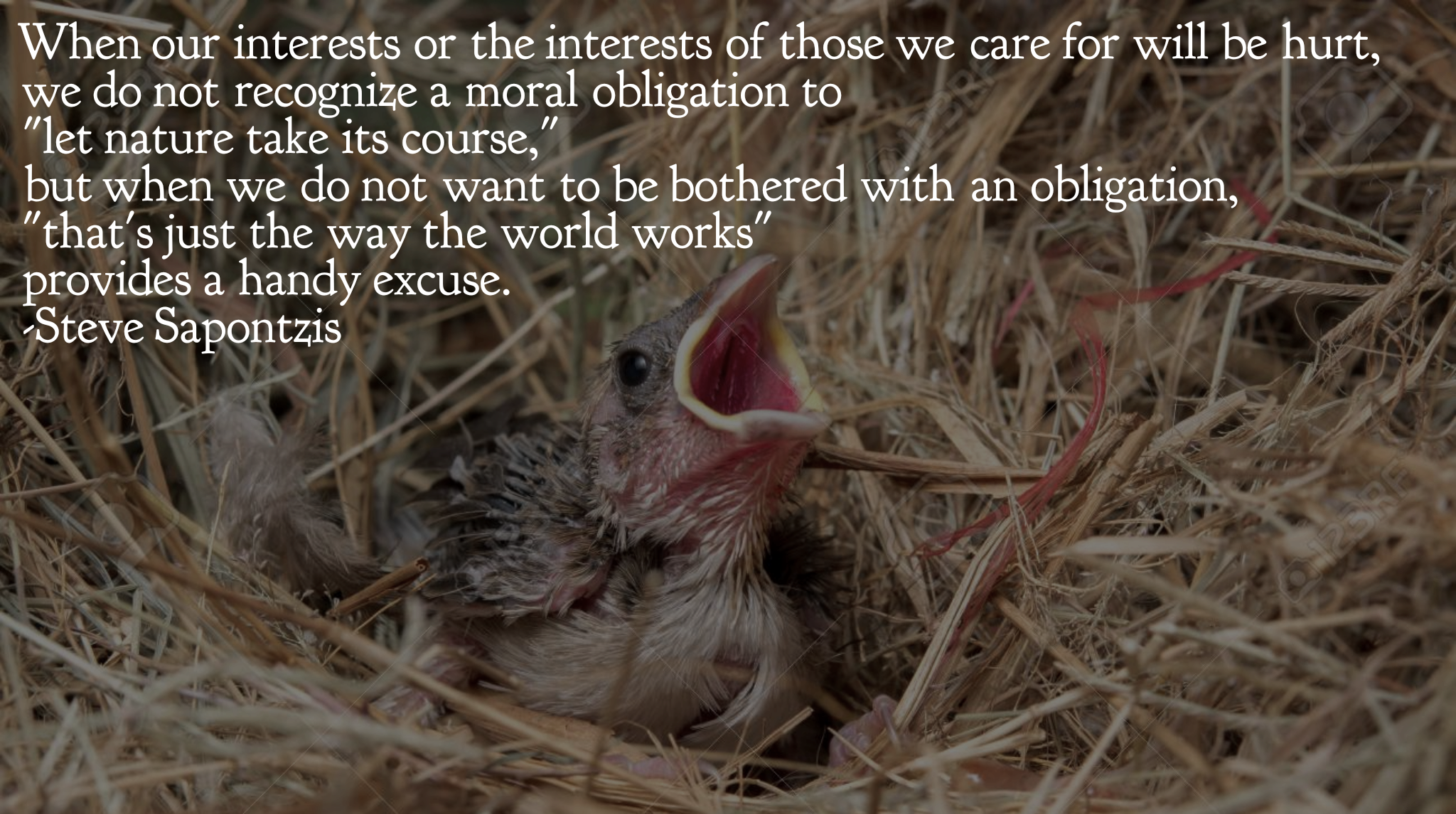 """When our interests or the interests of those we care for will be hurt, we do not recognize a moral obligation to 'let nature take its course'…"" -Steve Sapontzis [2048×1145]"