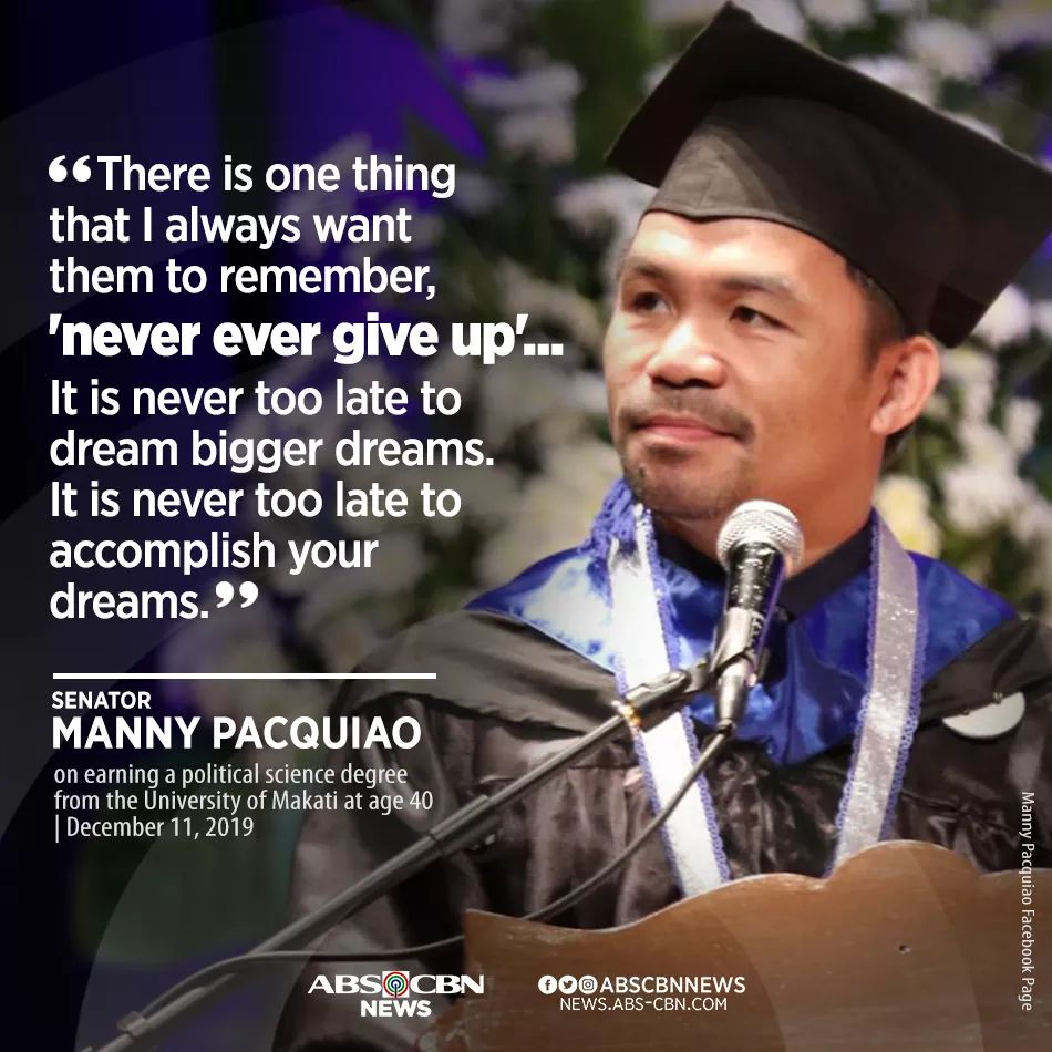 [Image] Manny Pacquiao after graduating college at 40 years old