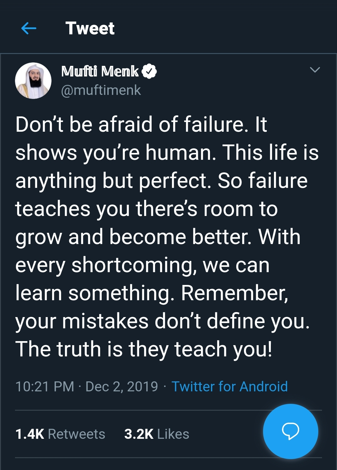 [Image] Don't be afraid of failure.