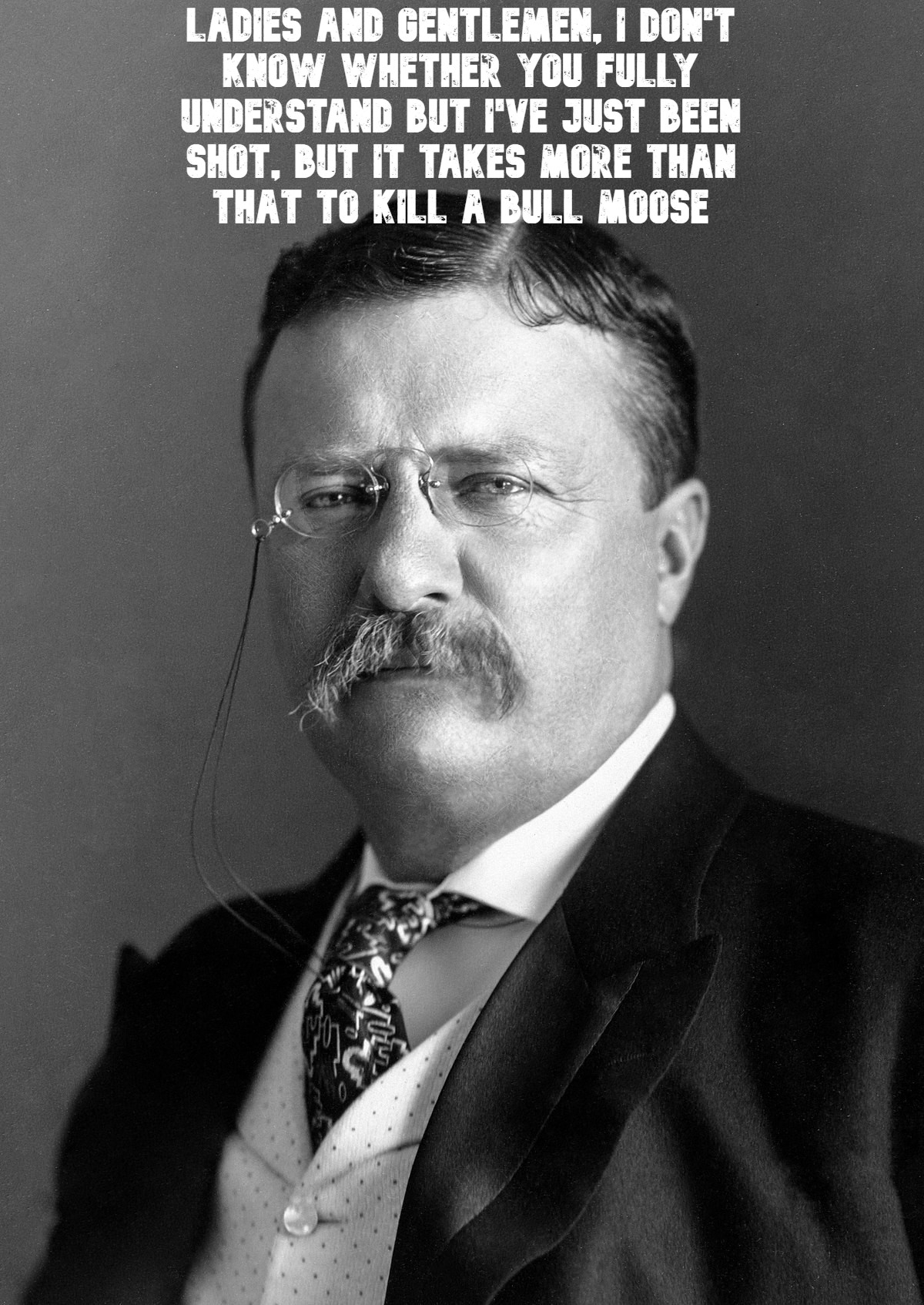 """I've just been shot, but it takes more than that to kill a bull moose"" – Teddy Roosevelt, after he was shot in the chest and proceeded to give a 90 minute speech with the bullet lodged in his chest [1200 x 1694]"