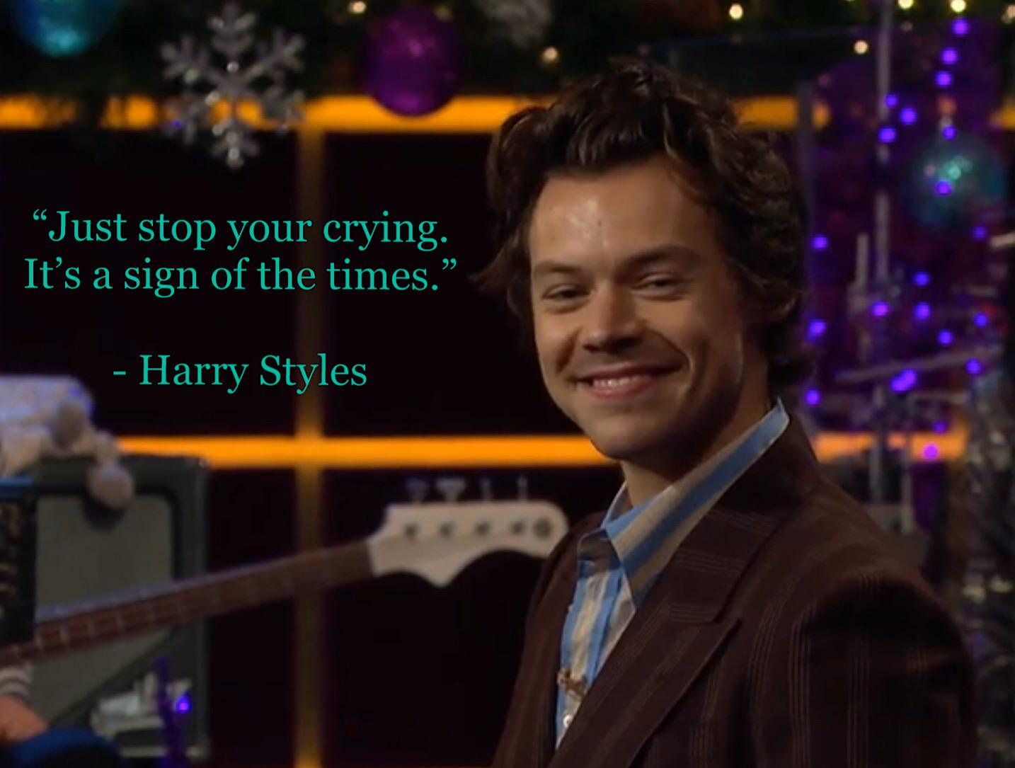 """Just stop your crying….."" – Harry Styles [1434 x 1085]"