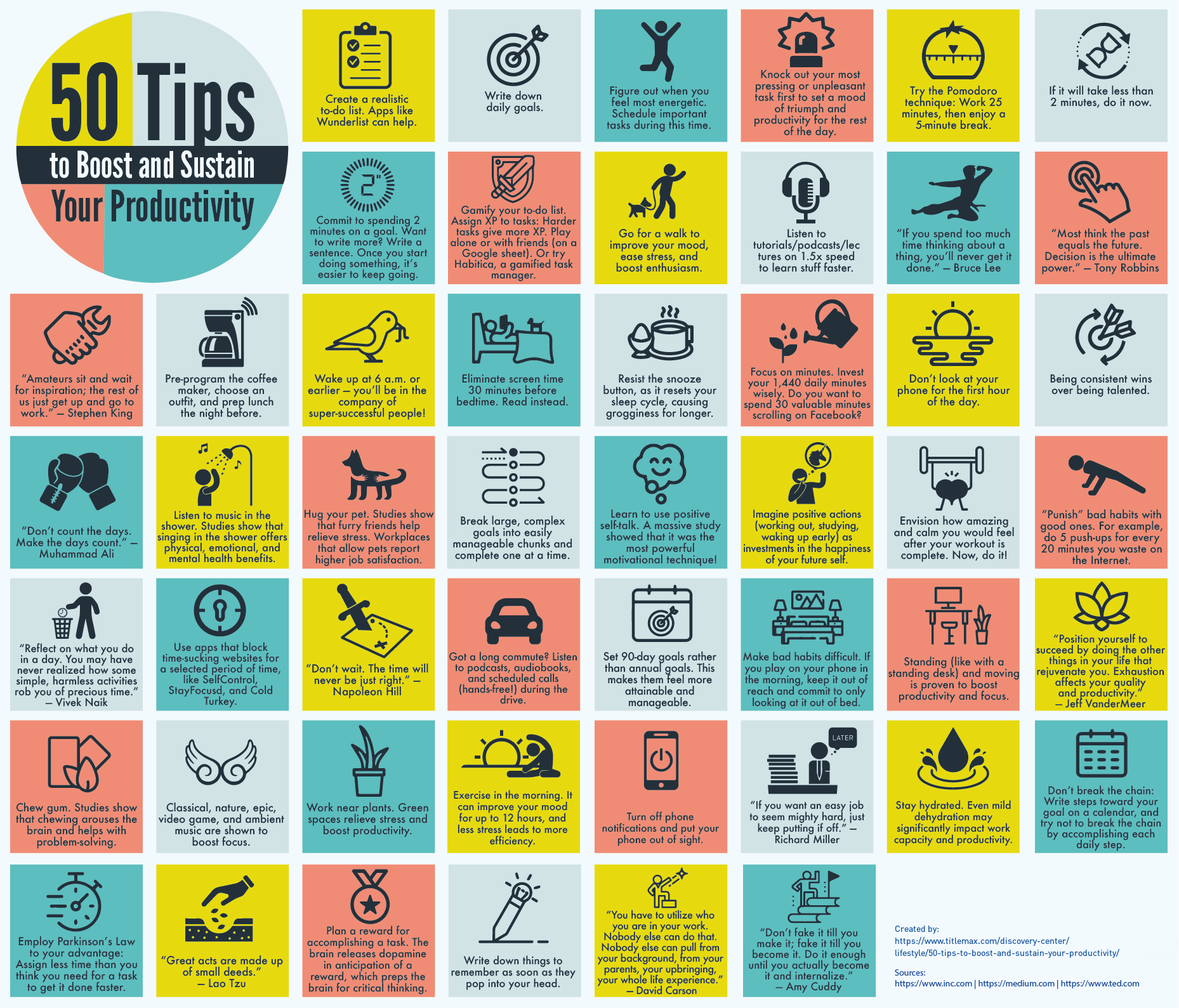 [Image] A poster of 50 tips to boost and sustain productivity.