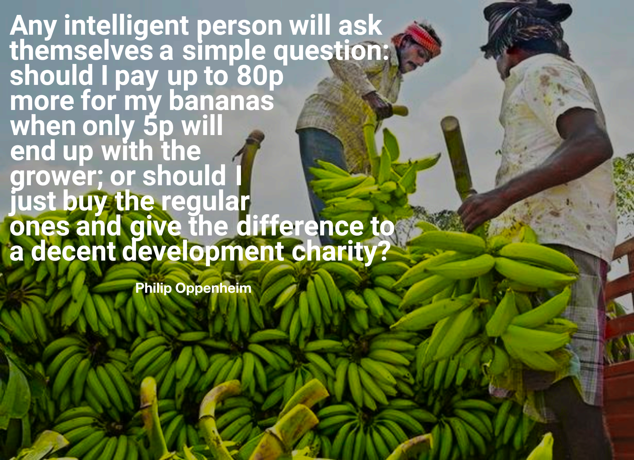 """Any intelligent person will ask themselves a simple question: Should I pay up to 80p more for my bananas when only 5p will end up with the grower…"" -Philip Oppenheim [2048×1485]"
